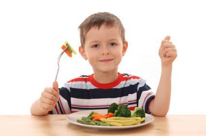 boy and vegetables